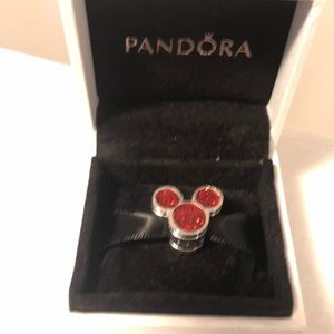 Disney Pandora Charm Mickey Mouse Red Glitter